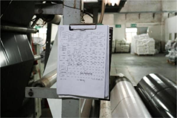 ビニール袋製造装置のチェックシート